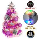 聖誕樹 摩達客台灣製迷你1尺(30cm)裝飾粉紅色聖誕樹(粉紫銀松果系)+LED20燈彩光插電式(樹免組裝)