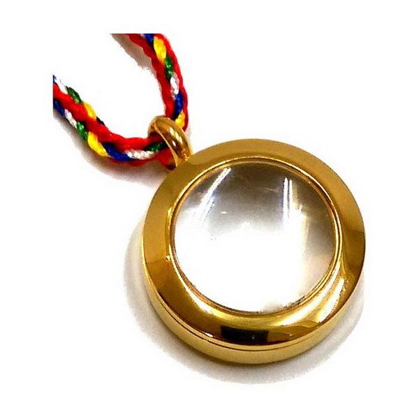 【十相自在】2公分 鋼合金放大鏡效果圓形嘎嗚盒-金色(小佛龕)