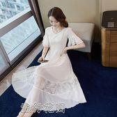 洋裝夏季v領雪紡拼接重工亮片蕾絲長裙顯瘦氣質仙女裙 流行花園