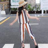 女童夏裝2018新款時髦套裝韓版洋氣中大兒童無袖九分褲兩件套潮衣