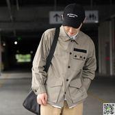 男外套 隱蔽青年 秋季薄款日系復古寬鬆工裝口袋夾克衫 休閒上衣外套潮男 印象部落