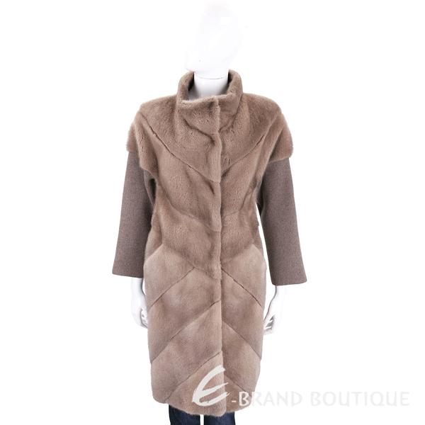 GRANDI furs 駝色針織拼接立領皮草大衣(70%WOOL) 1710431-07