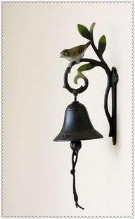 綠葉翠鳥田園復古鐵藝鈴鐺壁鑄鐵門鈴鐵藝門鈴家居裝飾品