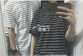夏季日繫潮牌黑白條紋短袖T恤 小清新文藝情侶裝短T寬鬆純棉tee男 俏腳丫