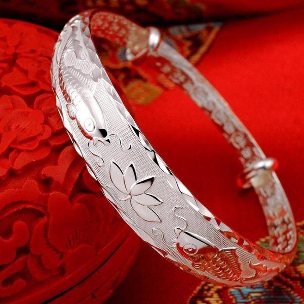 開口999足銀雙魚戲蓮花手鐲女銀鐲子推拉送媽媽長輩禮物飾品  卡布奇諾