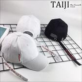 老帽彎簷帽‧側邊長綁帶英字印花老帽彎簷帽‧二色【NXHA284】-TAIJI-