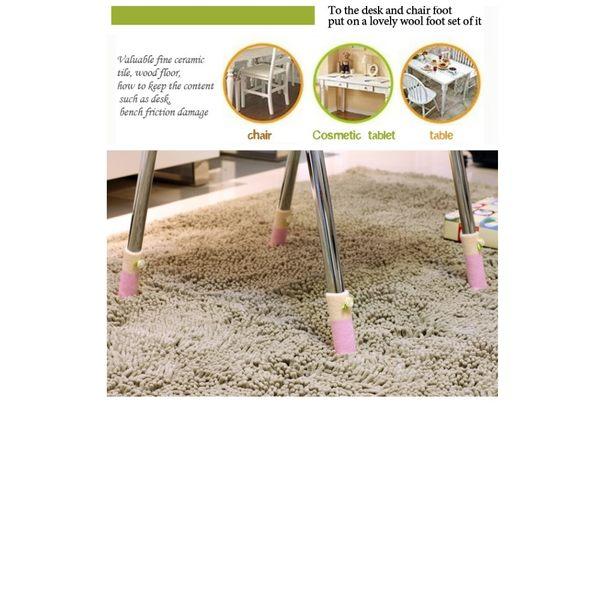 加厚毛線針織桌椅護腳套 小花款(4個裝)