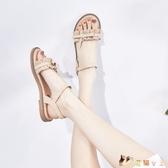 涼鞋女2020年新款夏百搭學生仙女涼鞋平底羅馬鞋配裙子的夏天鞋女TZ326【花猫女王】