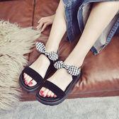 韓版時尚海邊灘羅馬鬆糕鞋厚底涼鞋學生百搭女鞋
