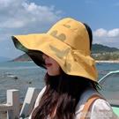 防曬帽子女韓版遮臉黑膠夏季大沿遮陽沙灘出游空頂折疊漁夫太陽帽