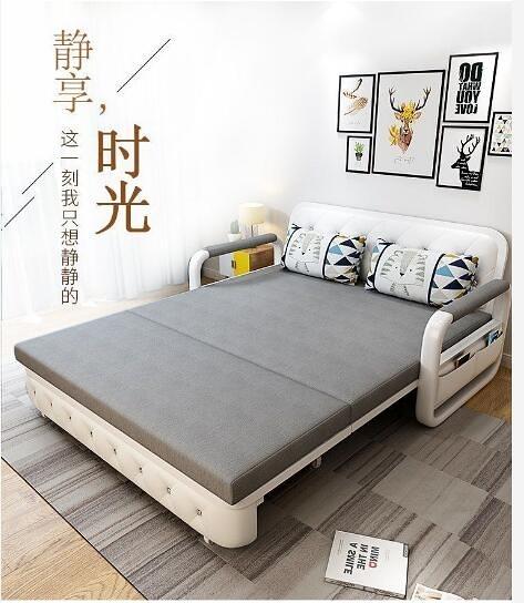 台灣現貨 兩用可摺疊沙發床客廳多功能1.5雙人1.8米小戶型布藝實木儲物沙發