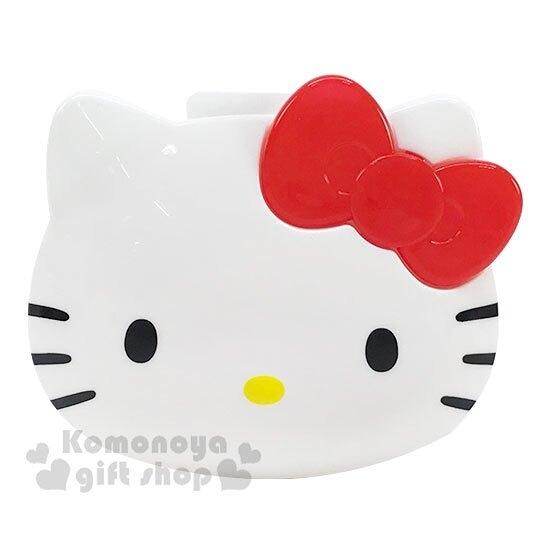 〔小禮堂〕Hello Kitty 大臉造型塑膠耳機收納盒《白紅》置物盒.捲線器.銅板小物 4573135-58401