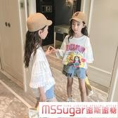女童短袖t恤2020年夏季新款韓版洋氣白色寬鬆兒童夏裝純棉上衣潮
