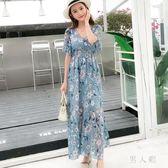 中大尺碼女裝新款波西米亞雪紡長裙顯瘦碎花V領系帶海灘裙 zm5102『男人範』