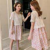*漂亮小媽咪*傾城之戀 兩件式 布蕾絲 罩衫 短袖 細肩帶 碎花 洋裝 孕婦裝 D2044