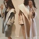 毛呢外套女中長款韓版新款秋冬季純色學生寬鬆連帽風衣大衣女   蘑菇街小屋