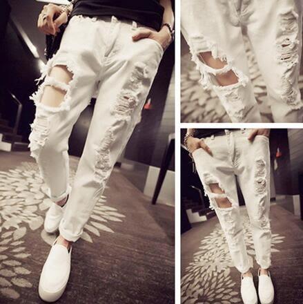 【AU005】歐美風 街拍潮款破洞水洗百搭顯瘦白色牛仔哈倫褲 208#