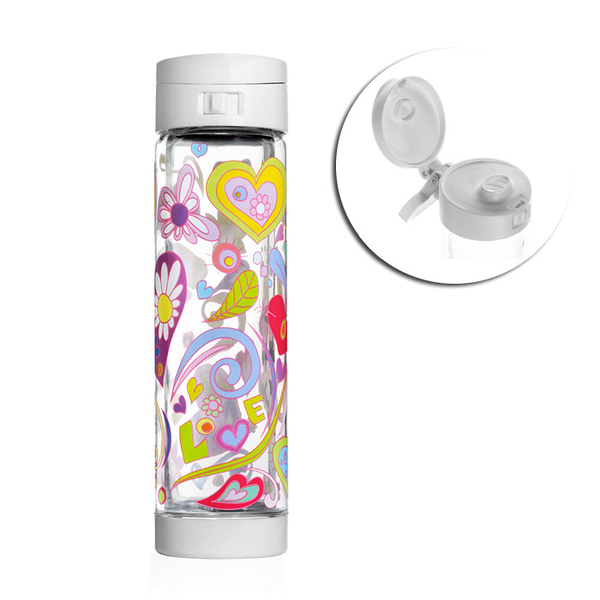 【限量限定款】 Glasstic │ 安全防護玻璃水瓶 彩繪款 470ml (Love 掀蓋白)