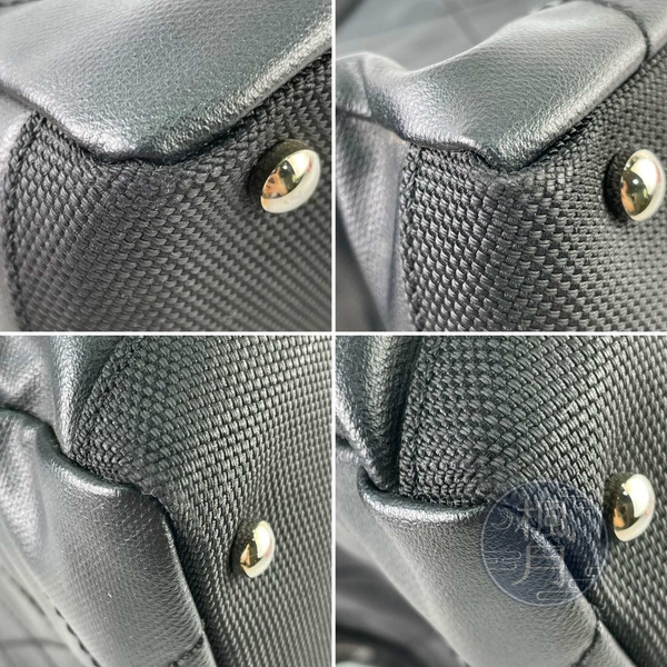 BRAND楓月 CHANEL 香奈兒 12開 黑色 大菱格 皮革 帆布 銀扣 托特包 肩背包 大容量
