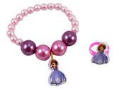 【卡漫城】 蘇菲亞 兒童 飾品 二件組  ㊣版 韓版 迪士尼 小公主 手鍊 戒指 Sofia 女孩  首飾 裝扮