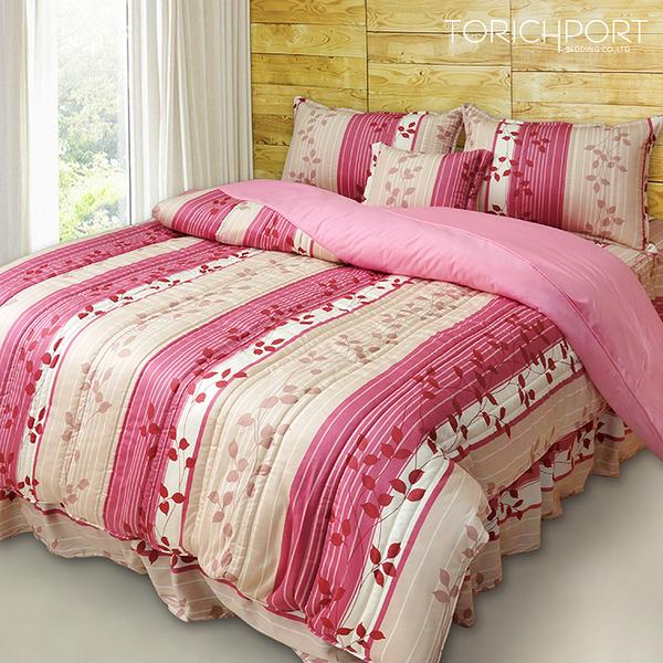 【Victoria】台灣製 純棉單人四件式全套床罩組-飄花粉_TRP多利寶