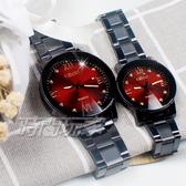 KEVIN 情人對錶 羅馬晶鑽造型時尚流行錶 立體多角切割鏡面 IP黑電鍍 對錶 KV2068B紅大+KV2068B紅小