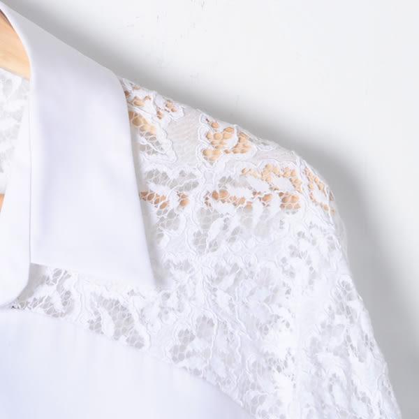 【REICO HSU 許瑋玲】五分袖蕾絲緹花長版襯衫