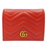 【GUCCI 古馳】466492 GG Marmont matelasse系列絎縫紋牛皮金屬雙G LOGO暗釦卡夾/零錢包(紅)