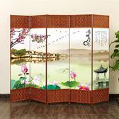 訂製      屏風隔斷簡易折疊客廳玄關墻移動折屏現代簡約時尚辦公室實木中式igo      琉璃美衣