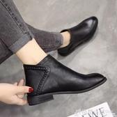 靴子女女鞋英倫風皮鞋女百搭短靴女單靴平底單鞋 格蘭小舖