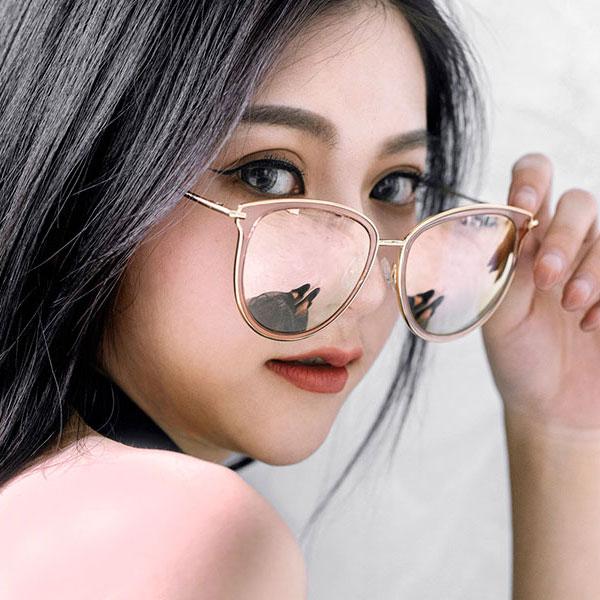 OT SHOP太陽眼鏡‧貓框果凍框金屬框炫彩高品質偏光墨鏡‧粉反光/藍反光/橘紅反光‧現貨NU97