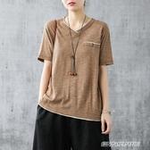 V領棉麻T恤女士短袖體恤年夏季新款韓版寬鬆半袖上衣小衫(免運快出)