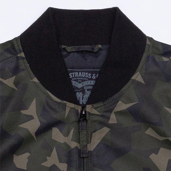 Levis 男款 飛行夾克 / 重軍裝迷彩 / 迷你刺繡Logo布章 / 單袖大字母Logo