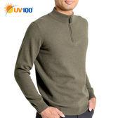 UV100 防曬 抗UV 100%羊毛-半開襟立領針織衫-男