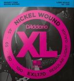 D'Addario EXL170貝斯4弦(45-100)兩包裝