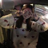 長袖上衣秋冬女裝新款韓版慵懶風寬鬆套頭撞色愛心針織衫網紅毛衣外套全館免運 二度3C