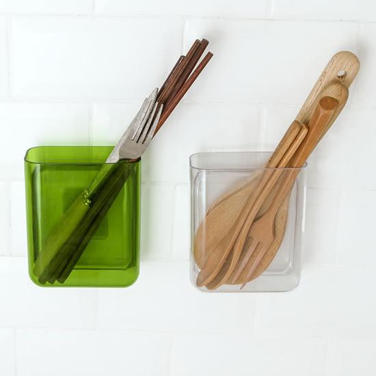 ✭米菈生活館✭【K78】壁掛式彩色收納盒 免打孔 無痕 空調遙控器 置物盒 筆筒 餐具 防水 黏貼