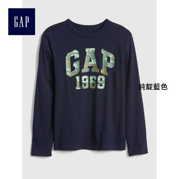 Gap男童 LOGO純棉長袖T恤 兒童印花圓領內搭上衣 402303-純靛藍色