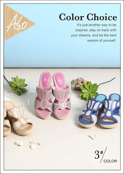 A.S.O 挺麗氣墊 全真皮奈米氣墊楔型涼拖鞋  藍