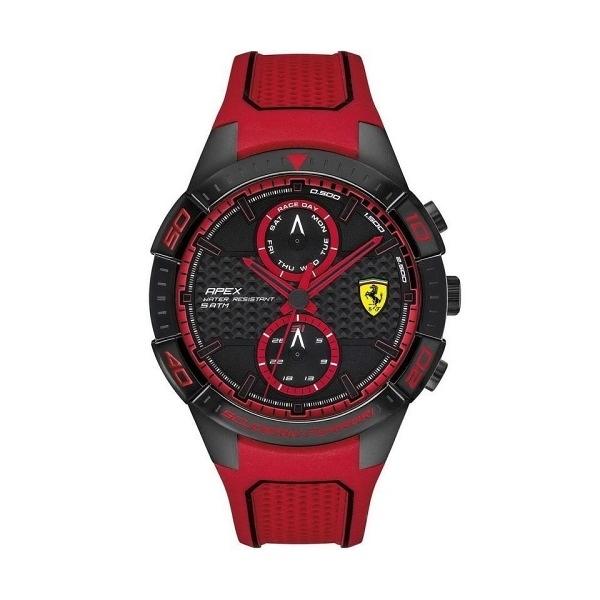【Ferrari 法拉利】APEX碳纖維元素錶盤設計雙圈橡膠腕錶-亮眼紅/FA0830639/台灣總代理享兩年保固