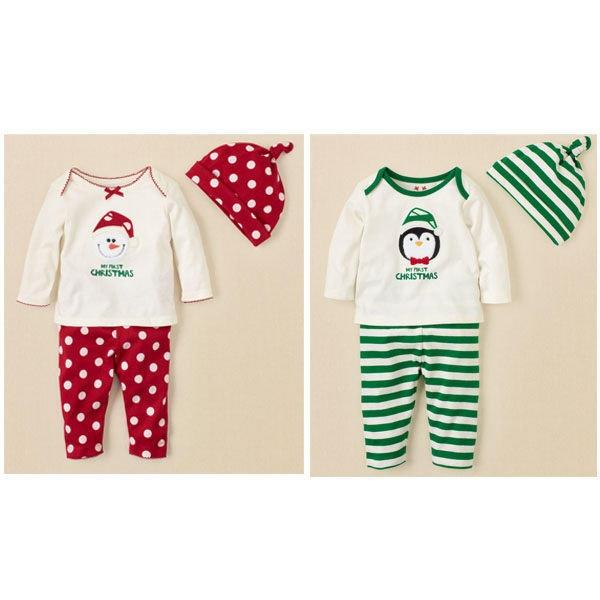 可愛寶寶聖誕三件套裝(紅耶誕老人/綠企鵝)