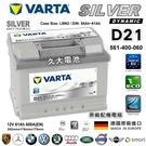 【久大電池】 德國進口 VARTA 銀合金 D21 61Ah 斯柯達 司可達 SKODA Citigo 1.0 14~