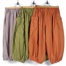 手作中性和風束口褲 100%純棉 單一尺碼 褲管束口可拉起當短褲 寬鬆版型不分男女