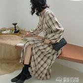 洋裝秋新款港味復古收腰襯衫長裙韓版格子洋裝chic復古中長款長袖襯  夢想生活家