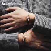 手鍊 歐美時尚潮流釘子手鐲男士個性創意鈦鋼手環情侶開口手鐲學生手飾