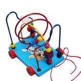 木制质动物拖拉玩具兒童串珠繞珠木質拉線拖拉玩具車 igo全館免運