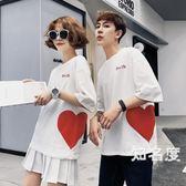 情侶T恤 不一樣的情侶裝夏裝2019新款小眾設計感韓版短袖t恤氣質4色S-3XL