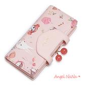 長夾-Just Star可愛喵糖果框釦對折長夾貓咪兔子珠釦女皮夾 甜美粉 Angelnana (SMA0235)