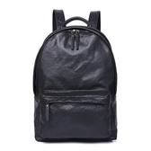 真皮後背包-黑色植鞣皮大容量電腦包男雙肩包73xp23【時尚巴黎】