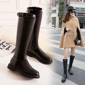 歐美女秋冬新款平底加絨長筒靴  2色可選